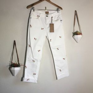 NWT Driftwood Candace white floral crop jeans
